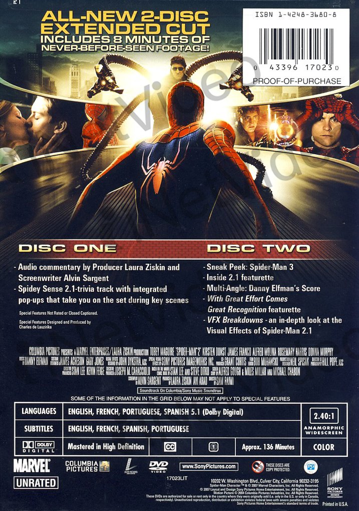 SPIDER-MAN 2.1 (TWO DISC EXTENDED CUT) (REGION 1 DVD)