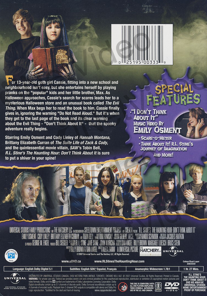r l stine 39 s haunting hour don 39 t think about it widescreen editi region 1 dvd ebay. Black Bedroom Furniture Sets. Home Design Ideas