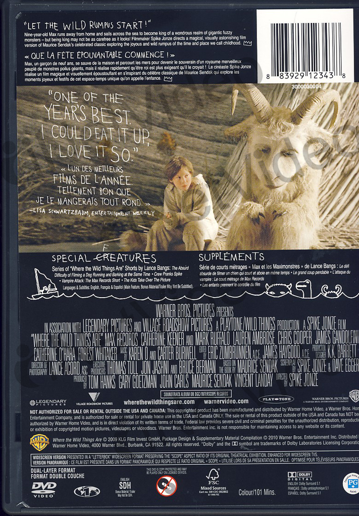 Where The Wild Things Are Bilingual Canadia New DVD ...