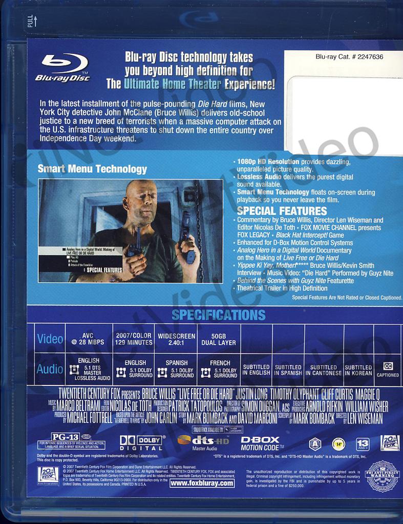 Die Hard 4.0: Live Free Or Die Hard (Blu-ray) - dgmoutlet.nl