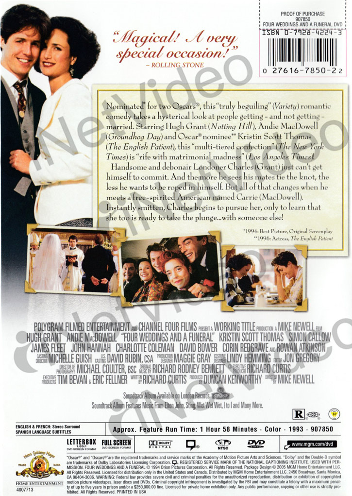 Four weddings and a funeral new dvd ebay for Four weddings and a funeral director mike